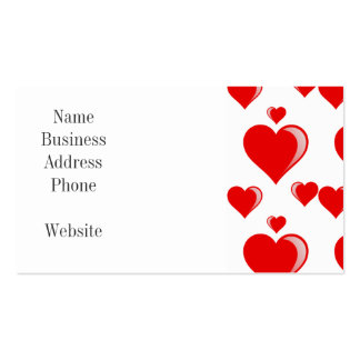 Red and White Hearts Valentine's Day Pattern Business Card Template