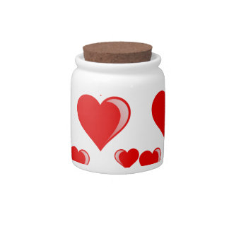 Red and White Hearts Valentine's Day Pattern Candy Dish
