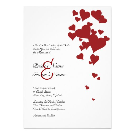 Red and White Hearts Wedding Invitation