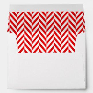 Red and White Herringbone Lined Envelopes