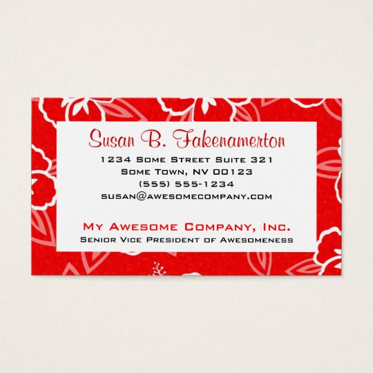 Red and White Hibiscus Business Card