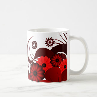 Red and White Hibiscus Floral Standard Mug