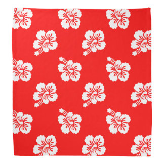 Red and White Hibiscus Hawaiian Pattern Bandana