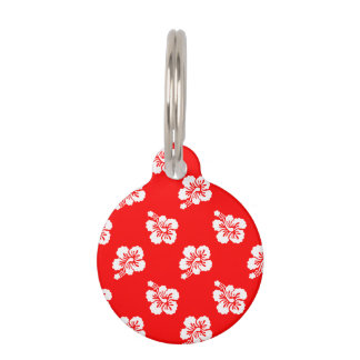 Red and White Hibiscus Hawaiian Pattern Pet Name Tag