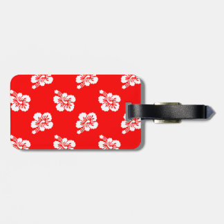 Red and White Hibiscus Hawaiian Pattern Travel Bag Tag