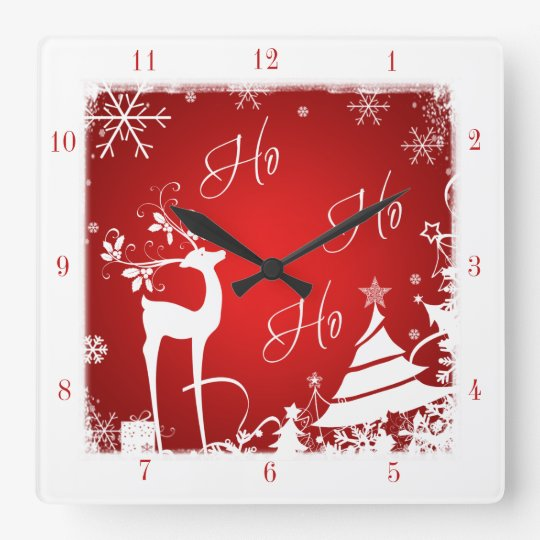 Red and White Ho Ho Ho Christmas Clock with Deer
