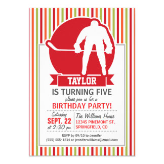 Red and White Hockey Player, Red, Orange, Green 5x7 Paper Invitation Card