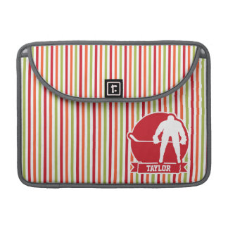 Red and White Hockey Player, Red, Orange, Green MacBook Pro Sleeves