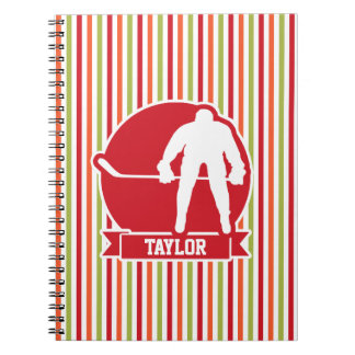 Red and White Hockey Player, Red, Orange, Green Spiral Note Book