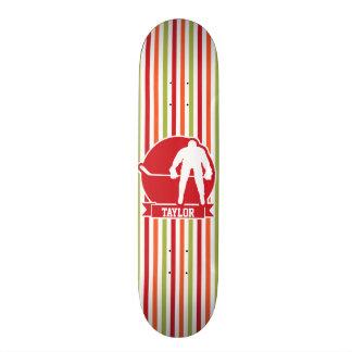 Red and White Hockey Player, Red, Orange, Green Custom Skate Board
