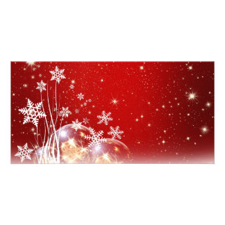 Red and White Holiday Christmas Bauble Design Card