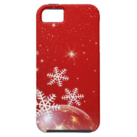 Red and White Holiday Christmas Bauble Design iPhone SE/5/5s Case