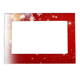 Red and White Holiday Christmas Bauble Design Magnetic Photo Frame