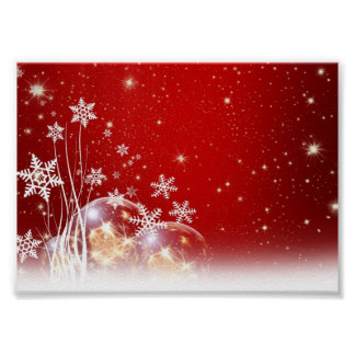 Red and White Holiday Christmas Bauble Design Poster