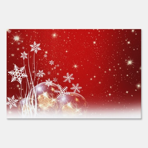 Red and White Holiday Christmas Bauble Design Yard Signs