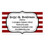 Red and White Horizontal Stripes Pattern Double-Sided Standard Business Cards (Pack Of 100)