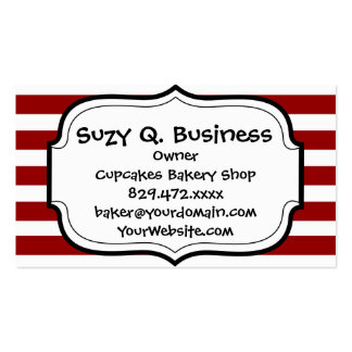 Red and White Horizontal Stripes Pattern Business Cards