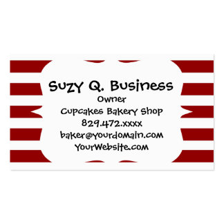 Red and White Horizontal Stripes Pattern Business Card Templates