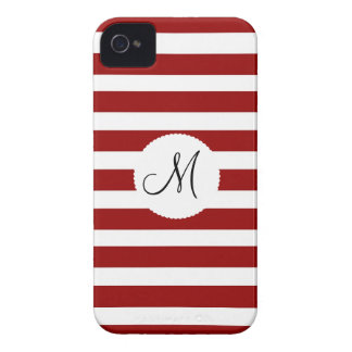 Red and White Horizontal Stripes Pattern iPhone 4 Case-Mate Cases