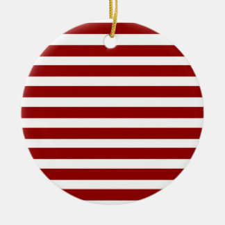 Red and White Horizontal Stripes Pattern Ceramic Ornament