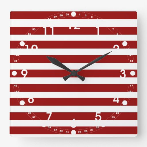Red and White Horizontal Stripes Pattern Square Wall Clock