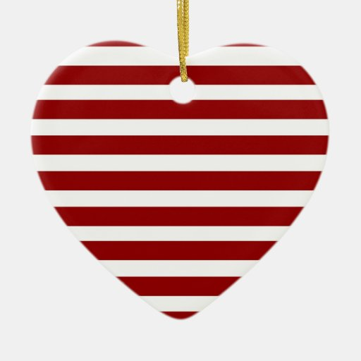 Red and White Horizontal Stripes Pattern Double-Sided Heart Ceramic Christmas Ornament