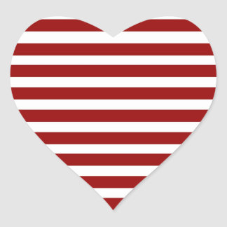 Red and White Horizontal Stripes Pattern Heart Sticker