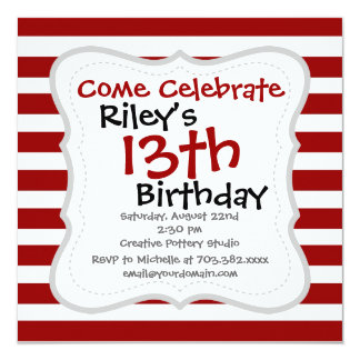 Red and White Horizontal Stripes Pattern Invitation
