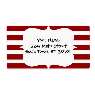 Red and White Horizontal Stripes Pattern Label