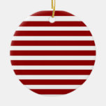 Red and White Horizontal Stripes Pattern Christmas Ornament