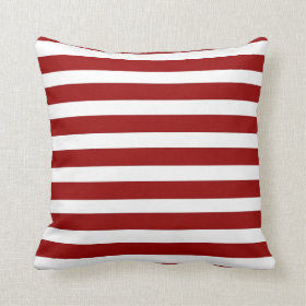 Red and White Horizontal Stripes Pattern Pillow
