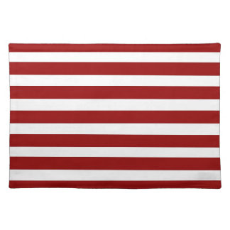 Red and White Horizontal Stripes Pattern Place Mat