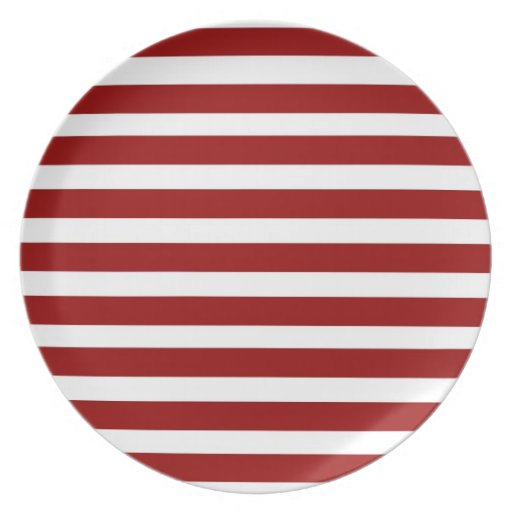 Red and White Horizontal Stripes Pattern Dinner Plates