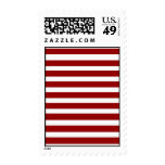 Red and White Horizontal Stripes Pattern Postage Stamps