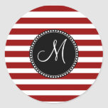 Red and White Horizontal Stripes Pattern Sticker