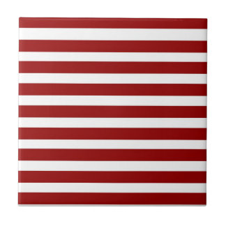 Red and White Horizontal Stripes Pattern Ceramic Tiles