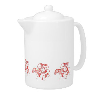 Red and White Horse Teapot