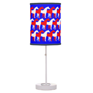 Red and White Horses on Blue Desk Lamp