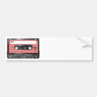 Red and White Houndstooth Label Cassette Bumper Sticker
