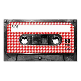 Red and White Houndstooth Label Cassette Business Card