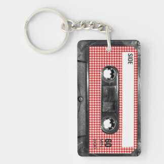 Red and White Houndstooth Label Cassette Keychain