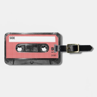 Red and White Houndstooth Label Cassette Bag Tag