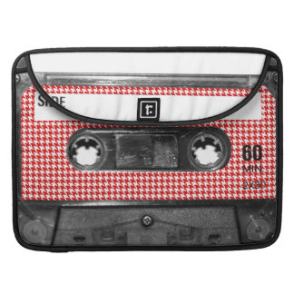 Red and White Houndstooth Label Cassette Sleeves For MacBook Pro