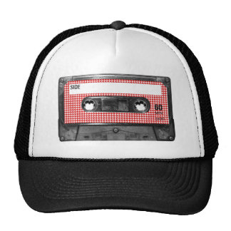 Red and White Houndstooth Label Cassette Trucker Hat