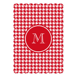 Red and White Houndstooth Your Monogram 5x7 Paper Invitation Card