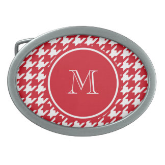 Red and White Houndstooth Your Monogram Oval Belt Buckle