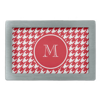 Red and White Houndstooth Your Monogram Rectangular Belt Buckle