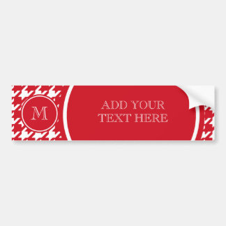 Red and White Houndstooth Your Monogram Bumper Sticker