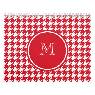 Red and White Houndstooth Your Monogram Calendar