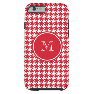 Red and White Houndstooth Your Monogram Tough iPhone 6 Case